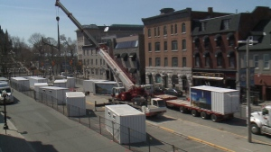 Sea containers unloaded in Byward Market.