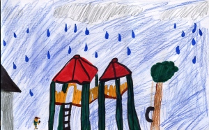 Weather art by Josh, age 8, from English Bluff Elementary School.