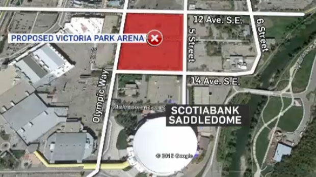 'Plan B' would see a new arena built where a parking lot is now located just north of the Saddledome.