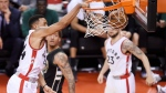 Toronto Raptors guard Norman Powell (24) dunks the ball against the Milwaukee Bucks during the second half of game five of an NBA first-round playoff series basketball game in Toronto, on Monday, April 24, 2017. (THE CANADIAN PRESS/Nathan Denette)