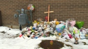 Make-shift memorial for toddler killed