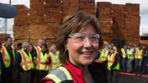 B.C. Liberal Leader Christy Clark greets workers during a campaign stop at CedarLine Industries, a manufacturer of western red cedar products, in Surrey, B.C., on Monday April 24, 2017. THE CANADIAN PRESS/Darryl Dyck