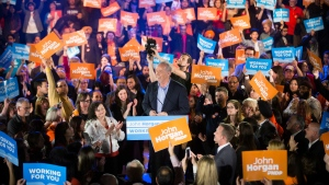 NDP Leader John Horgan addresses supporters during a campaign rally in Vancouver, B.C., on Sunday April 23, 2017. THE CANADIAN PRESS/Darryl Dyck