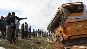 Wreckage of a Buscar Bus Company vehicle that was involved in a road accident at Kambuu area in Makueni, along the Nairobi-Mombasa highway on April 25. 2017. (AP)