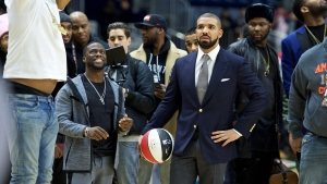 In this Feb. 12, 2016, file photo, Kevin Hart, left, and Drake coach at the NBA All-Star Celebrity Game at Ricoh Coliseum in Toronto. (Ryan Emberley/Invision/AP)