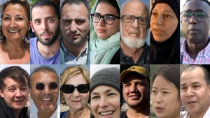 Top row left to right: Diane Lallouz in Tel Aviv; Payam Mosleh in Tehran; Hamza Abu Maria in Ramallah; Shahrzad Ebrahimi in Tehran; Dan Mirkin in Tel Aviv; Fatmeh (full name not given) in Damascus; Mohamed Shire in Mogadishu. Bottom row left to right: Yuri (last name not given) in Moscow; Shimon Abitbol, in Tel Aviv; Raya Sauerbrun in Tel Aviv; Ute Hubner in Berlin; Juan Pablo Bolanos in Mexico City; Ra So Yon in Pyongyang; and Mohammad Ali in Damascus. (AP)