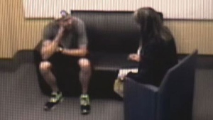 William Sandeson is seen being interviewed by Sgt. Charla Keddy in this image taken from video. Sandeson is charged with first-degree murder in the death of Taylor Samson.