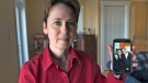 Kim D'Arcy displays an image of her late husband Jack Webb at her home in Bedford, N.S. on Thursday, April 13, 2017. Webb died after being diagnosed with pancreatic cancer but not before enduring a difficult ordeal with a health care system that is grappling with the pressures of overcapacity. (THE CANADIAN PRESS/Andrew Vaughan)