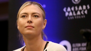 Maria Sharapova speaks to members of the media prior to a World Team Tennis exhibition in Las Vegas, U.S. on Oct. 10, 2016. (Isaac Brekken/AP)