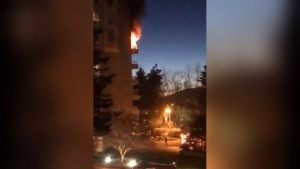 A fire that started in a seventh-floor suite of a Burnaby high-rise tower resulted in two people being rushed to hospital with extensive burns. (CTV)