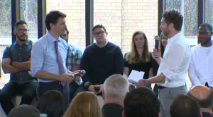 The Prime Minister visited Vidyard during a stop in Kitchener. (April 25, 2017)