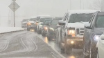 A spring snowstorm is making some area roads and highways slippery and motorists are advised to drive to the conditions.