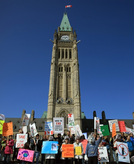 An energetic crowd rallies in Ottawa on Sunday, March 15, 2009 in support of the International Day of Action against Commercial Sealing. (International Fund for Animal Welfare / THE CANADIAN PRESS)