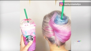 "A Winnipeg stylist's haircut that resembles the Starbucks ""unicorn Frappuccino"" has become a hit online."