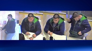 Police are looking for this man who snatched an undisclosed amount of cash from a teller at an ATB bank on Macleod Trail S.E.