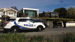 Oak Bay police investigate an incident that caused two schools to be placed into hold and secure Tues., April 25, 2017. (CTV Vancouver Island)