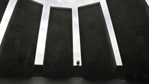 """This March 2, 2005 file photo shows the memorial to the victims of the """"Great Slaughter,"""" where 1.5 million Armenians were massacred between 1915 and 1923 by the Ottoman Empire, in Yerevan, Armenia. (AP Photo/Misha Japaridze, File)"""