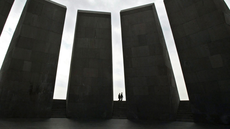 "This March 2, 2005 file photo shows the memorial to the victims of the ""Great Slaughter,"" where 1.5 million Armenians were massacred between 1915 and 1923 by the Ottoman Empire, in Yerevan, Armenia. (AP Photo/Misha Japaridze, File)"