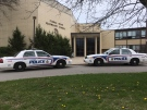 London police investigate a weapons incident at Clarke Road SS on April 25, 2017. (Jim Knight/CTV)