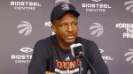 Toronto Raptors coach Dwane Casey speaks to reporters at the team's practice facility in Toronto, Tuesday, April 25, 2017. The Raptors lead their best-of-seven playoff series with the Milwaukee Bucks three game to two, with game six set for Thursday in Milwaukee. (THE CANADIAN PRESS/Neil Davidson)