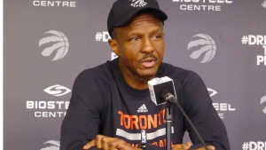 Toronto Raptors coach Dwane Casey speaks to reporters at the team's practice facility in Toronto, Tuesday, April 25, 2017. (Neil Davidson / THE CANADIAN PRESS)