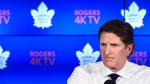 Toronto Maple Leafs head coach Mike Babcock speaks to the media during the year end press conference in Toronto on Tuesday April 25, 2017. (Nathan Denette / THE CANADIAN PRESS)