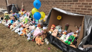 A memorial has grown outside of the Good Shepherd Anglican Church on 155 Ave. and Castle Downs Rd. Tuesday, April 25, 2017.