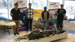 A group of Saskatchewan Polytechnic students show off their handmade car, which is set to compete at the Shell Eco-marathon starting April 27, 2017. (supplied)