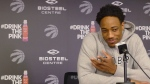 Toronto Raptors DeMar DeRozan speaks to reporters at the team's practice facility in Toronto on Tuesday, April 25, 2017. (Neil Davidson / THE CANADIAN PRESS)