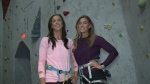 Steph and Kristen, winners of The Amazing Race Canada at Vertical Reality rock climbing gym in Ottawa, April 25, 2017