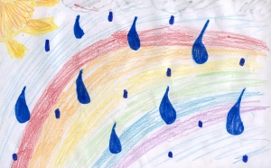Weather art by Maya, age 9, from GAD Elementary School.