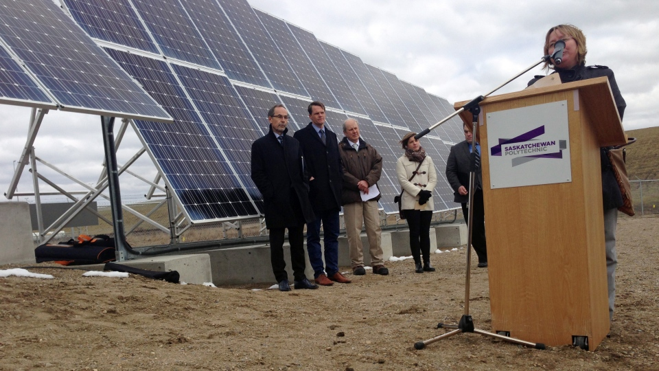 Officials with several organizations involved in a new solar project in Saskatoon show off the project at the Solar Photovoltaic Demonstration Site, off Valley Road, on Tuesday, April 25, 2017. (Jen Jellicoe/CTV Saskatoon)