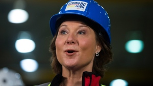 B.C. Liberal Leader Christy Clark speaks during a campaign stop at StructureCraft Builders in Delta, B.C., on Monday April 24, 2017. THE CANADIAN PRESS/Darryl Dyck