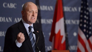 Former U.S. ambassador to Canada Bruce A. Heyman speaks at the Canadian American Business Council in Ottawa on Sept. 30, 2014. THE CANADIAN PRESS/Sean Kilpatrick