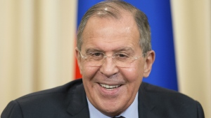 Russian Foreign Minister Sergey Lavrov speaking at a news conference after his meeting with OSCE Secretary-General Lamberto Zannier, in Moscow, Russia, on Tuesday, April 25, 2017. (AP / Ivan Sekretarev)