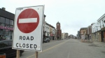 A road closed sign on King Street in Uptown Waterloo. (CTV Kitchener)