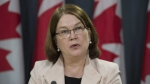 Jane Philpott, Minister of Health speaks following the announcement of changes regarding the legalization of marijuana during a news conference in Ottawa, Thursday April 13, 2017. THE CANADIAN PRESS/Adrian Wyld