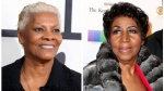 FILE - In this combination photo, singer Dionne Warwick arrives at the 56th annual GRAMMY Awards on Jan. 26, 2014, in Los Angeles, left, and Aretha Franklin attends the 39th Annual Kennedy Center Honors on Dec. 4, 2016, in Washington, D.C. (Photo by Jordan Strauss, left, Owen Sweeney/Invision/AP, File)