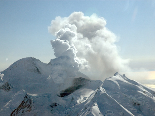 This March 15, 2009, photo shows Mount Redoubt looking south at the north flank near Kenai, Alaska. (AP / Alaska Volcano Observatory / U.S. Geological Survey, Heather Bleick)