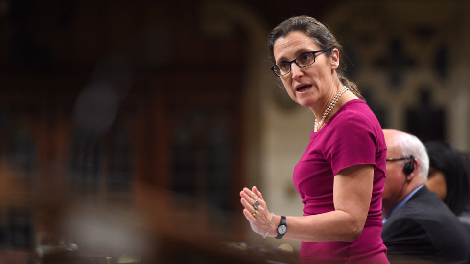 Foreign Affairs Minister Chrystia Freeland in the House of Commons on Parliament Hill in Ottawa on April 13, 2017. (Sean Kilpatrick / THE CANADIAN PRESS)