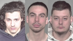Mickael Brilo-Martin, Esteban Cantos-Lepage, and Marc-Olivier Delisle were among five men charged on April 20 with multiple counts of theft and conspiracy