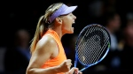 Russia's Maria Sharapova reacts after winning 7-5, 6-3 against Italy's Roberta Vinci at the Porsche Tennis Grand Prix in Stuttgart, Germany, Wednesday, April 26, 2017. I(Michael Probst/AP)