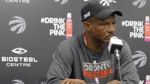Toronto Raptors coach Dwane Casey speaks to reporters at the team's practice facility in Toronto, Wednesday, April 26, 2017. (THE CANADIAN PRESS / Neil Davidson)