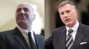 Businessman Kevin O'Leary and Conservative leadership candidate Maxime Bernier are seen in this combination image. (The Canadian Press)