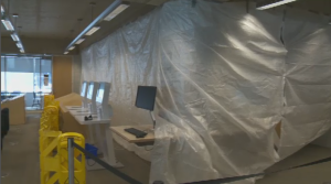 The area where the collapse occurred recently underwent repairs, but officials at the library believe there is no further danger. (CTV Montreal)