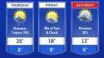 High of 25 C on Thursday, nearing 30 with humidex