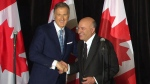 Conservative Leadership Candidate Maxime Bernier shakes hands with former candidate Kevin O'Leary after he announced he was dropping out of the leadership race. (CTV)