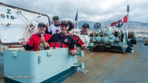 Andrew Foran and some of the crew of HMCS Moncton are off the coast of West Africa supporting the Senators! (Colette Sabourin/CTV Viewer)