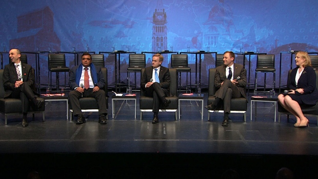 Conservative party leadership candidates take part in the final official debate in Toronto on April 26, 2017.