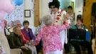 """Minerva Boran, 102, dances with """"Elvis,"""" at a retirement home in Amherst, N.S., on Thursday, Apr. 26, 2017."""
